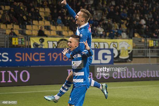 Ryan Thomas of PEC Zwolle Wouter Marinus of PEC Zwolle during the Dutch Eredivisie match between Roda JC Kerkrade and PEC Zwolle at the Parkstad...