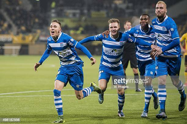 Ryan Thomas of PEC Zwolle Wouter Marinus of PEC Zwolle Kingsley Ehizibue of PEC Zwolle Lars Veldwijk of PEC Zwolle during the Dutch Eredivisie match...