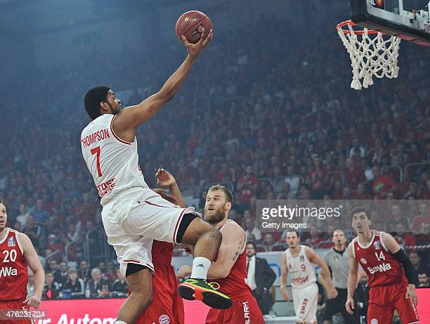 Ryan Thompson of Brose Baskets Bamberg goes to the hoop against Anton Gavel of FC Bayern Muenchen during Game One of the 2015 BBL Finals at Brose...