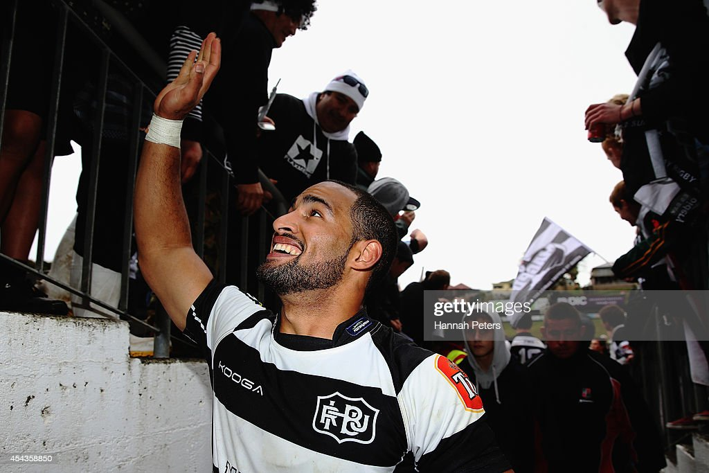 Ryan Tongia of the Hawke's Bay Magpies celebrates with fans after winning the ITM Cup rugby game between the Counties Manukau Steelers and the Hawke's Bay Magpies at ECOLight Stadium on August 30, 2014 in Pukekohe, New Zealand.