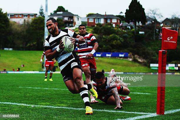 Ryan Tongia of the Hawke's Bay Magpies runs over to score a try during the ITM Cup rugby game between the Counties Manukau Steelers and the Hawke's...