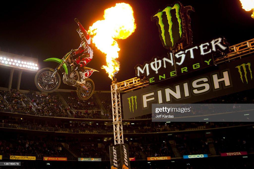 Ryan Villopoto wins the Monster Energy AMA Supercross race at Qualcomm Stadium on February 11 2012 in San Diego California