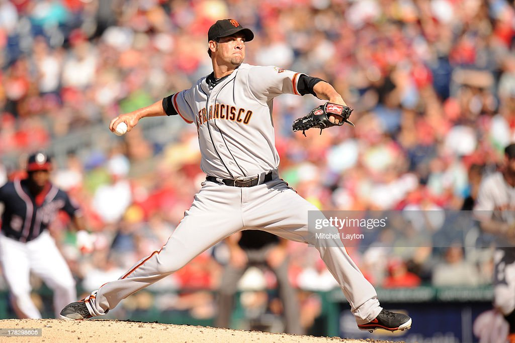 <a gi-track='captionPersonalityLinkClicked' href=/galleries/search?phrase=Ryan+Vogelsong&family=editorial&specificpeople=670011 ng-click='$event.stopPropagation()'>Ryan Vogelsong</a> #32 of the San Francisco Giants pitches during the game against the Washington Nationals on August 15, 2013 at Nationals Park in Washington, DC. The Nationals won 4-3.
