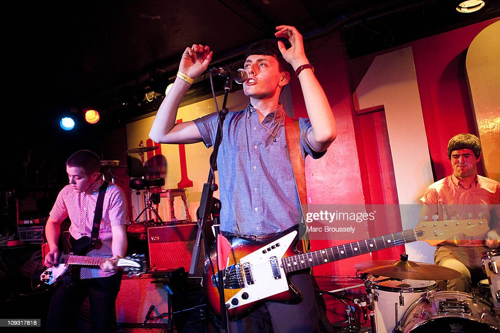Ryan Wallace, Matthew Whitehouse and Joseph Kondras of The Heartbreaks perform during Shockwaves NME Awards Show at The 100 Club on February 20, 2011 in London, England.
