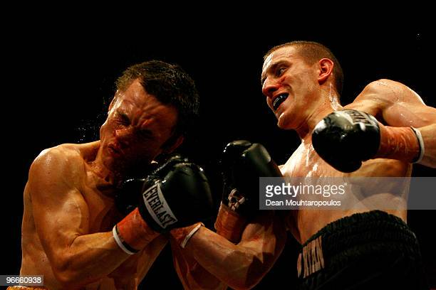 Ryan Walsh of Cromer lands a punch on Ian Bailey of Slough their Super Bantamweight bout at Wembley Arena on February 13 2010 in London England