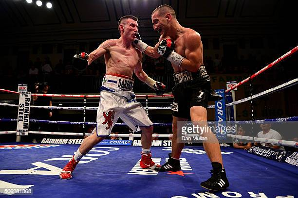 Ryan Walsh of England and Darren Traynor of Scotland in action during their British Feathwerweight Championship Contest at York Hall on January 22...