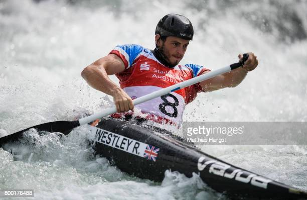 Ryan Westley of Great Britain competes during the Canoe Single Men's Qualification of the ICF Canoe Slalom World Cup on June 23 2017 in Augsburg...
