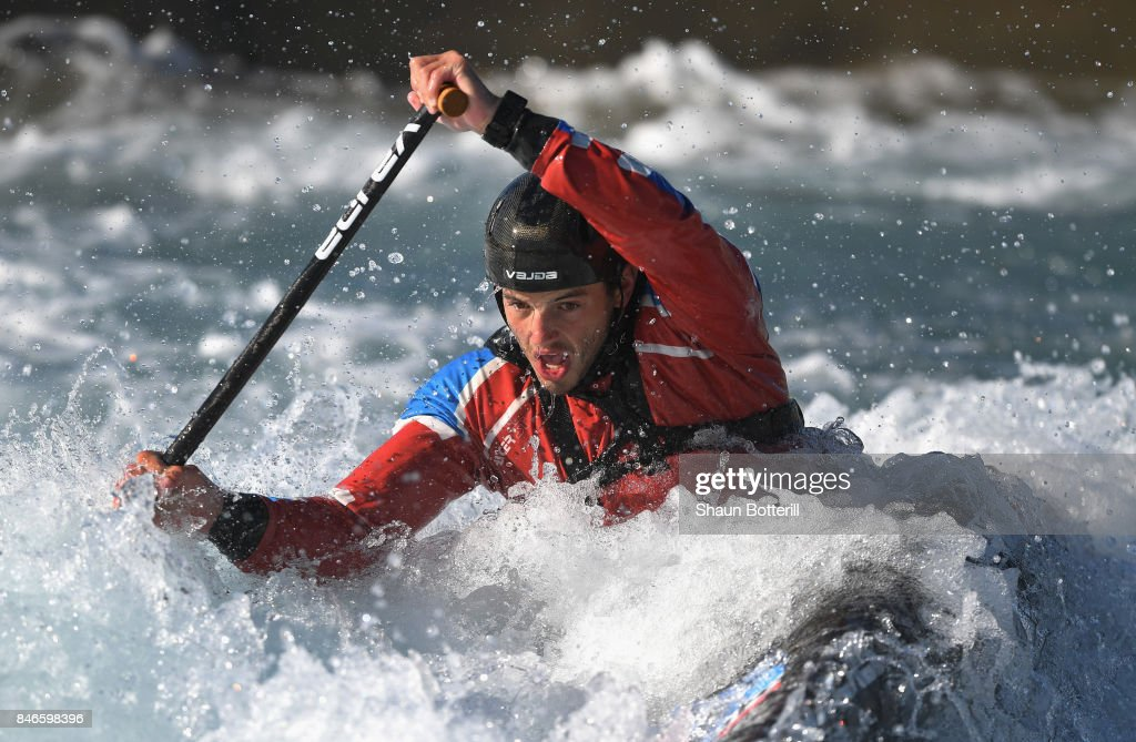 Ryan Westley of Great Britain trains in the Canoe Single at Lee Valley White Water Centre on September 13, 2017 in London, England.