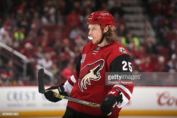 Ryan White of the Arizona Coyotes during the third period of the NHL game against the Nashville Predators at Gila River Arena on December 10 2016 in...