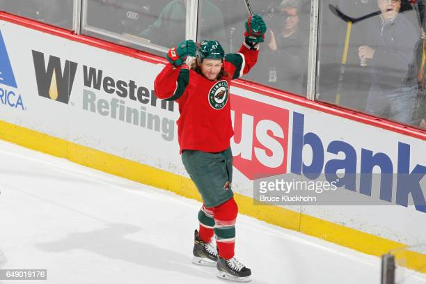 Ryan White of the Minnesota Wild celebrates after scoring a goal against the Los Angeles Kings during the game on February 27 2017 at the Xcel Energy...