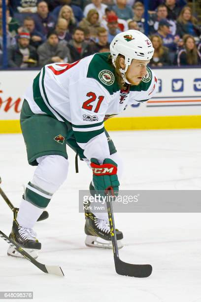 Ryan White of the Minnesota Wild lines up for a faceoff during the game against the Columbus Blue Jackets on March 2 2017 at Nationwide Arena in...