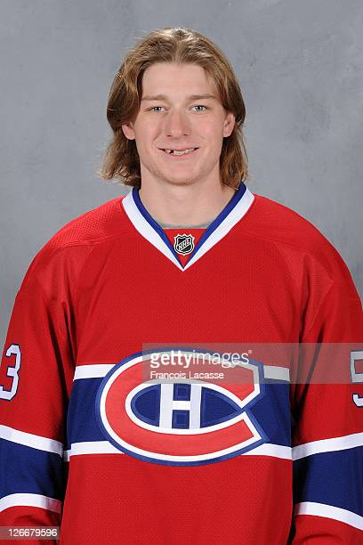 Ryan White of the Montreal Canadiens poses for his official headshot for the 20112012 season on September 16 2011 at the Bell Sports Complex in...