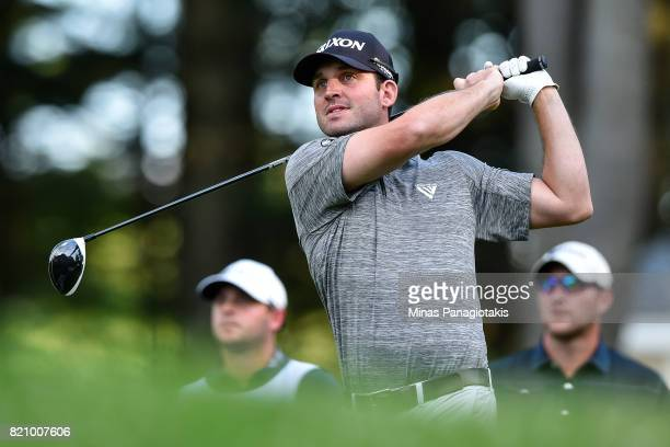 Ryan Williams of Canada hits his tee on the first hole during round three of the Mackenzie Investments Open at Club de Golf Les Quatre Domaines on...