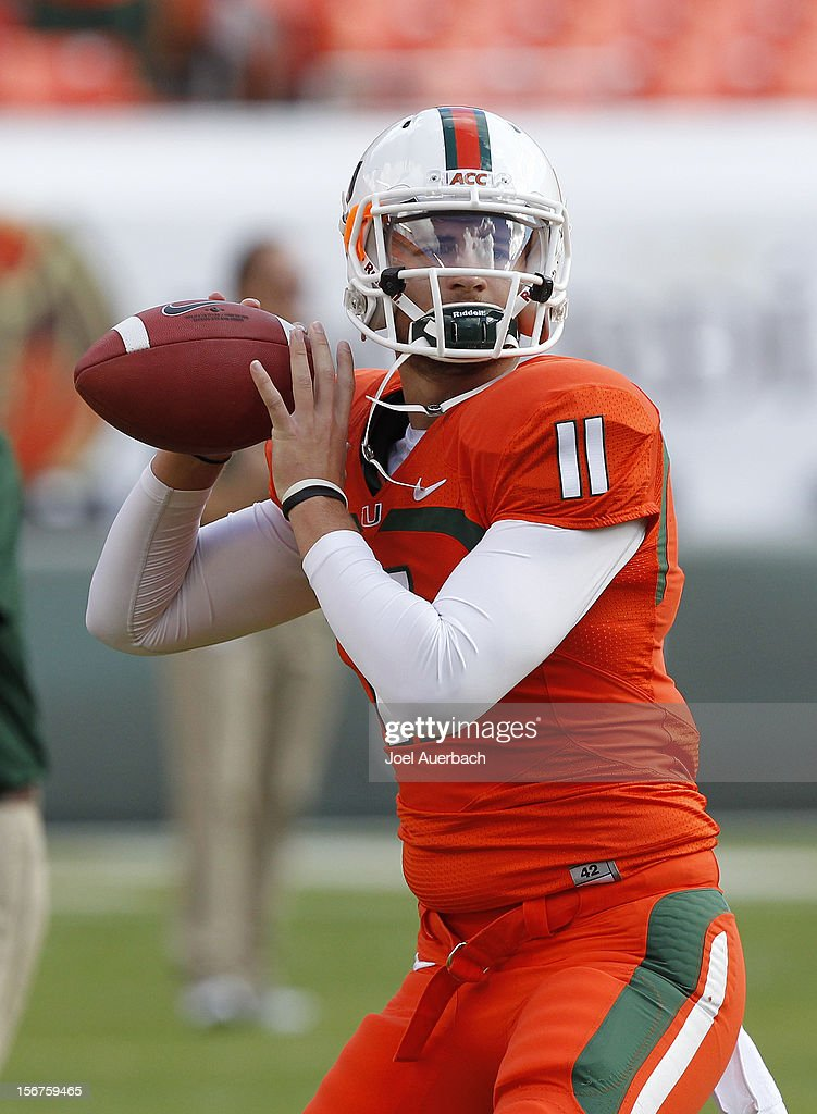 Ryan Williams #11 of the Miami Hurricanes throws the ball prior to the game against the South Florida Bulls on November 17, 2012 at Sun Life Stadium in Miami Gardens, Florida. The Hurricanes defeated the Bulls 40-9.