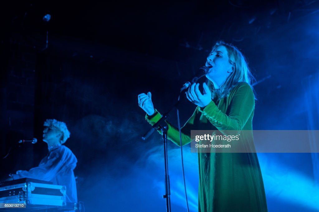 Ryan Wonsiak and singer Katie Stelmanis of Austra perform live on stage during a concert at Astra on March 13, 2017 in Berlin, Germany.