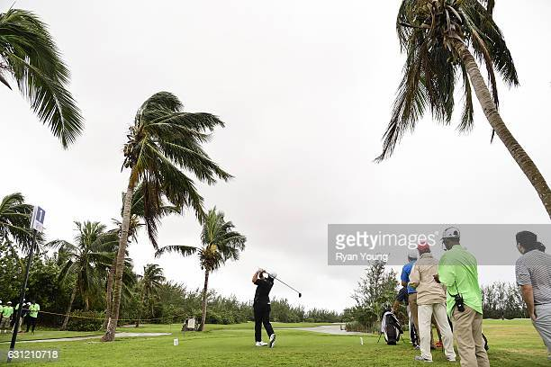 Ryan Yip tees off on the first hole during the first round of The Bahamas Great Exuma Classic at Sandals Emerald Reef Course on January 8 2017 in...