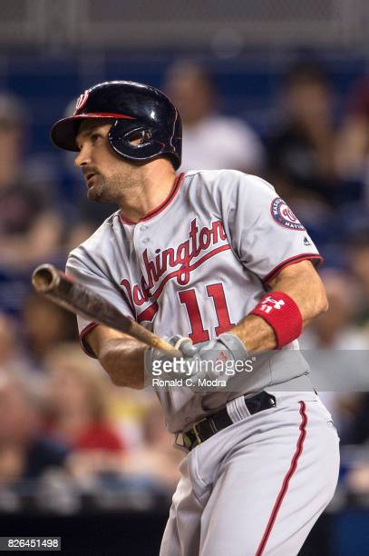 Ryan Zimmerman of the Miami Marlins bats during a MLB game against the Washington Nationals at Marlins Park on August 1 2017 in Miami Florida