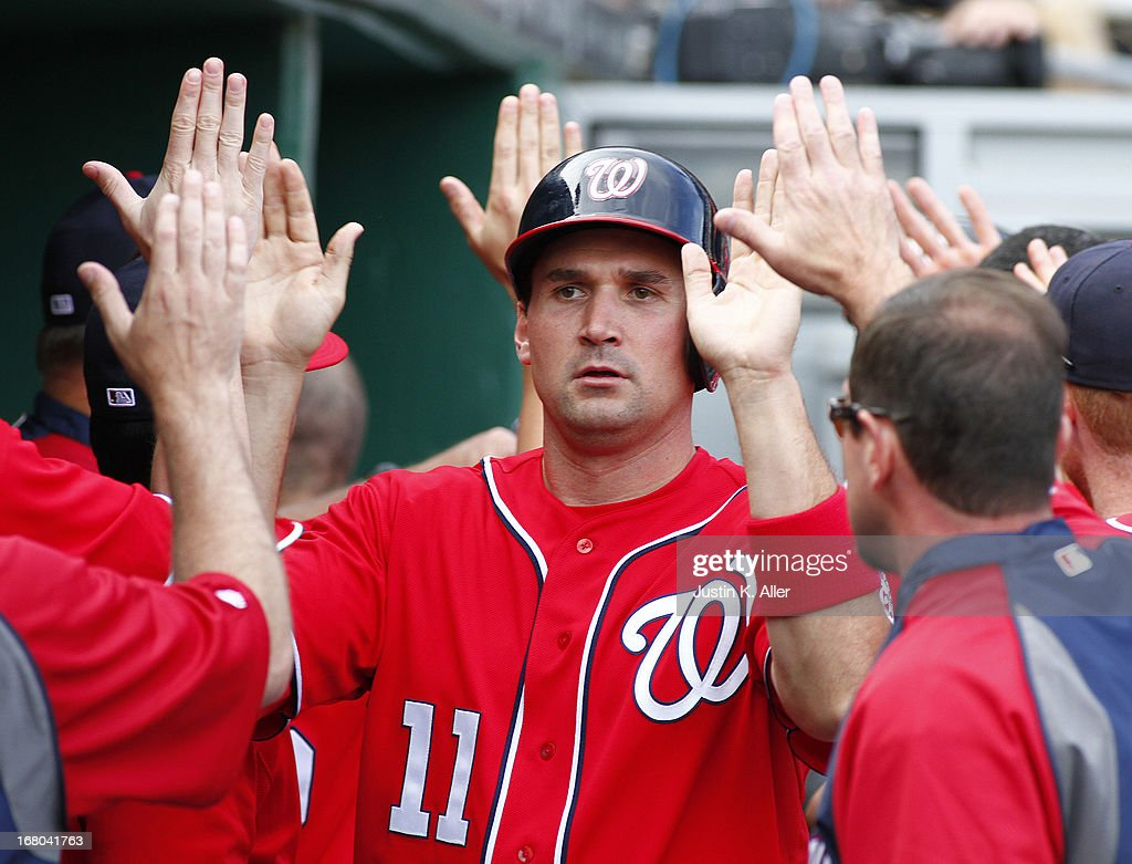 <a gi-track='captionPersonalityLinkClicked' href=/galleries/search?phrase=Ryan+Zimmerman+-+Honkballer&family=editorial&specificpeople=534809 ng-click='$event.stopPropagation()'>Ryan Zimmerman</a> #11 of the Washington Nationals celebrates after scoring on a two RBI single in the sixth inning against the Pittsburgh Pirates during the game on May 4, 2013 at PNC Park in Pittsburgh, Pennsylvania.