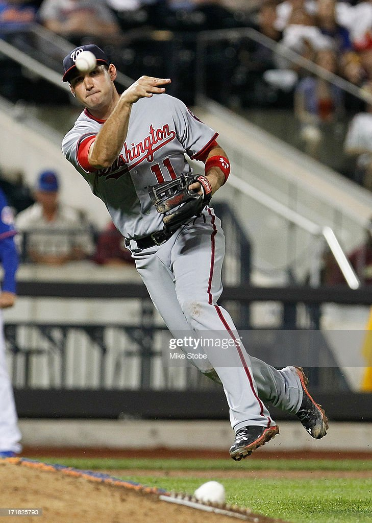 <a gi-track='captionPersonalityLinkClicked' href=/galleries/search?phrase=Ryan+Zimmerman+-+Baseball+Player&family=editorial&specificpeople=534809 ng-click='$event.stopPropagation()'>Ryan Zimmerman</a> #11 of the Washington Nationals fields the ball for the final out of the game against the New York Mets in the ninth inning at Citi Field on June 28, 2013 at Citi Field in the Flushing neighborhood of the Queens borough of New York City. Nationals defeated the Mets 6-4.