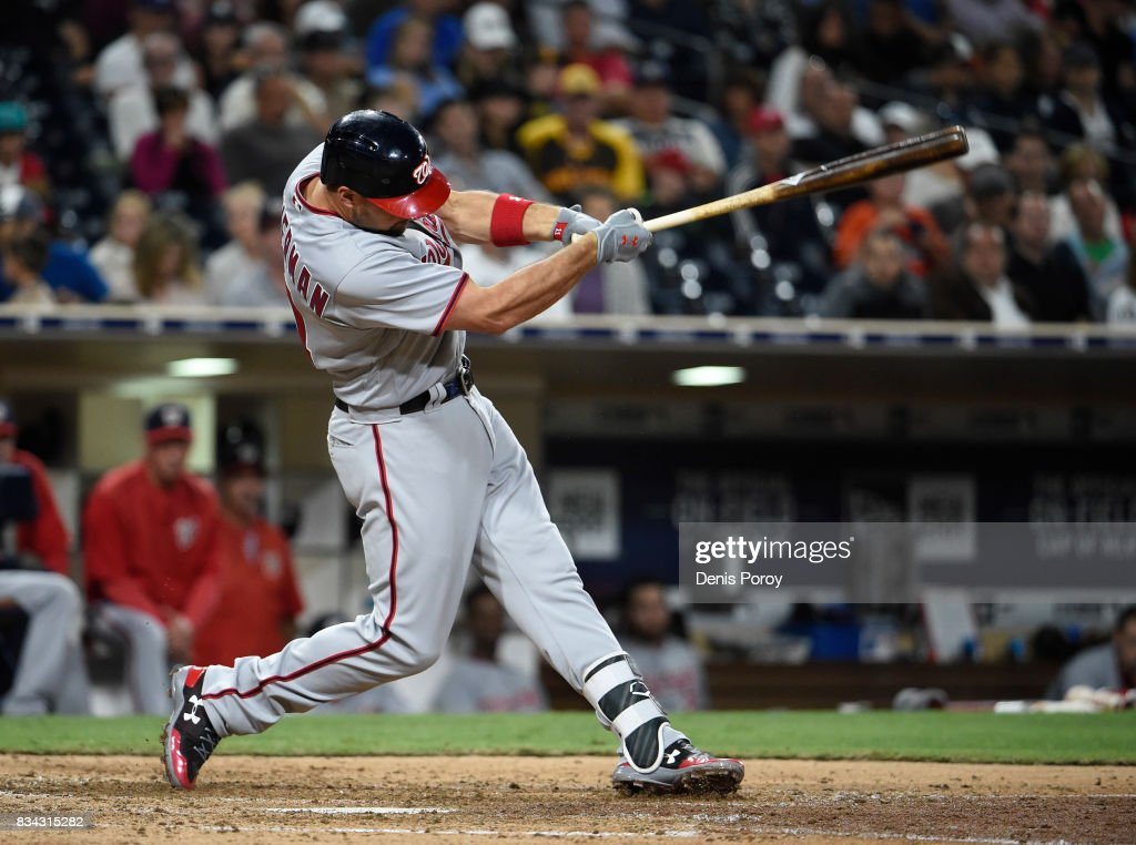 Ryan Zimmerman #11 of the Washington Nationals hits a solo home run during the eighth inning of a baseball game against the San Diego Padres at PETCO Park on August 17, 2017 in San Diego, California.