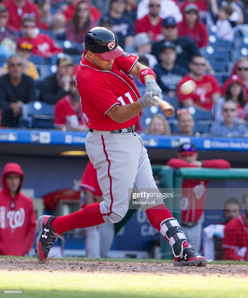 Ryan Zimmerman #11 of the Washington Nationals hits a three run home run in the top of the ninth inning against the Philadelphia Phillies at Citizens Bank Park on April 9, 2017 in Philadelphia, Pennsylvania. The Phillies defeated the Nationals 4-3.