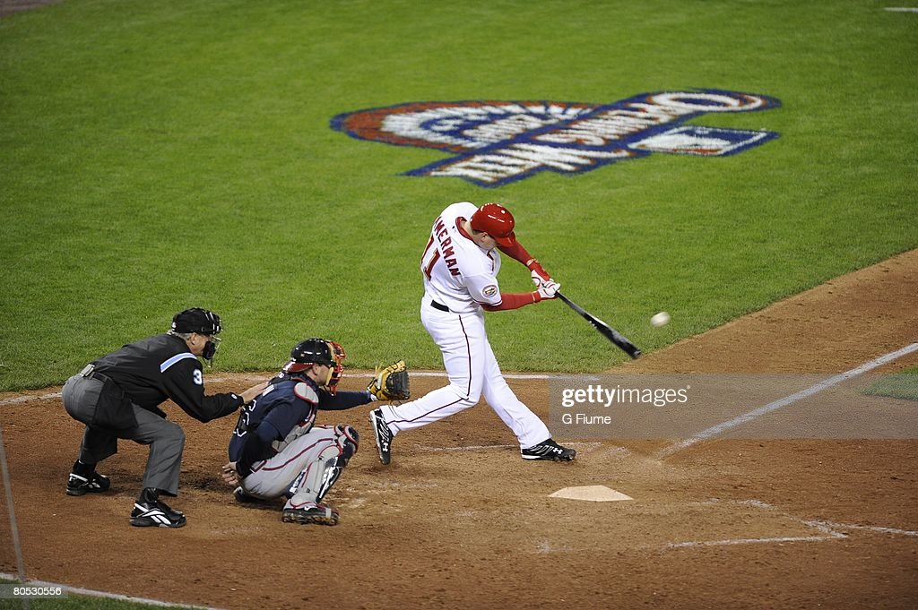 Ryan Zimmerman of the Washington Nationals hits the game winning homerun in the bottom of the 9th inning during the game against the Atlanta Braves...