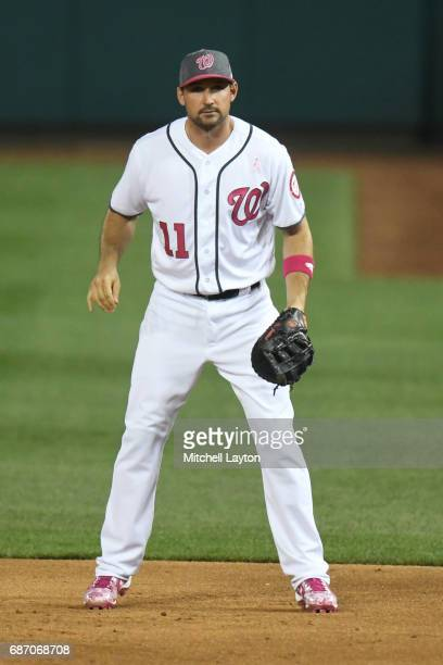 Ryan Zimmerman of the Washington Nationals in position during game two of baseball game against the Philadelphia Phillies at Nationals Park on May 14...