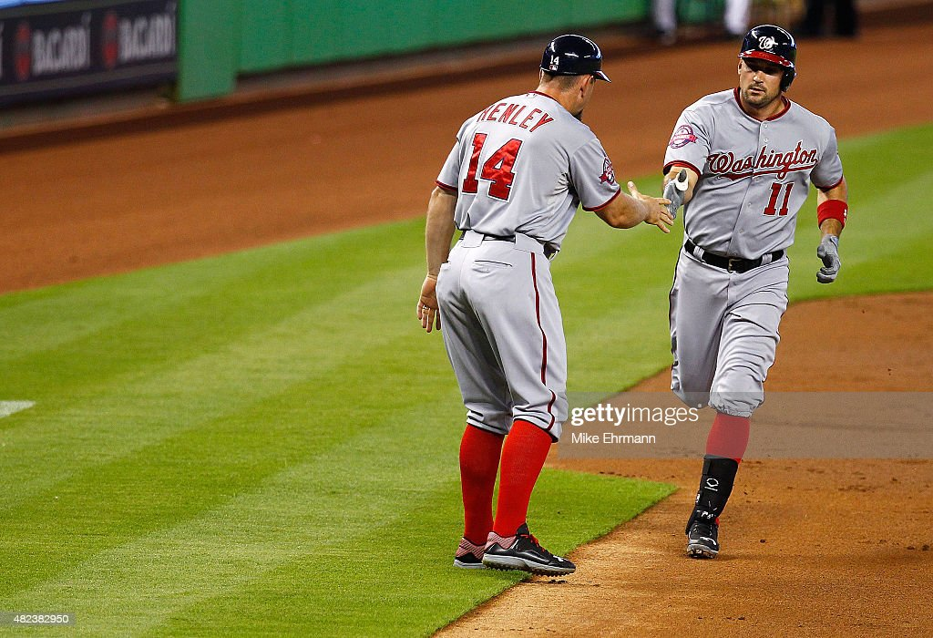 Ryan Zimmerman #11 of the Washington Nationals is congratulated after hitting a solo home run during a game against the Miami Marlins at Marlins Park on July 30, 2015 in Miami, Florida.
