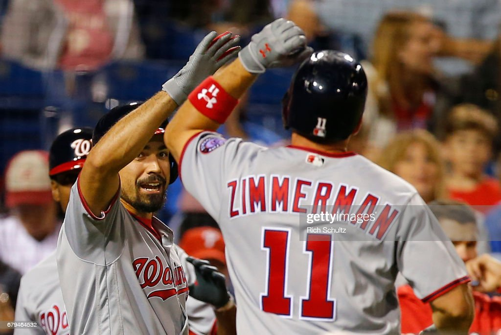 Ryan Zimmerman #11 of the Washington Nationals is congratulated by Anthony Rendon #6 after he hit a home run against the Philadelphia Phillies during the fifth inning of a game at Citizens Bank Park on May 5, 2017 in Philadelphia, Pennsylvania. Rendon followed with a homer as the two went back to back. The Nationals defeated the Phillies 4-2.