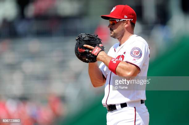 Ryan Zimmerman of the Washington Nationals plays first base against the Los Angeles Angels at Nationals Park on August 16 2017 in Washington DC