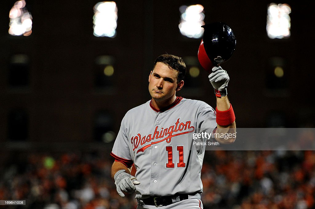 <a gi-track='captionPersonalityLinkClicked' href=/galleries/search?phrase=Ryan+Zimmerman+-+Baseball+Player&family=editorial&specificpeople=534809 ng-click='$event.stopPropagation()'>Ryan Zimmerman</a> #11 of the Washington Nationals reacts after striking out in the seventh inning against the Baltimore Orioles during an interleague game at Oriole Park at Camden Yards on May 29, 2013 in Baltimore, Maryland. The Baltimore Orioles won, 9-6.