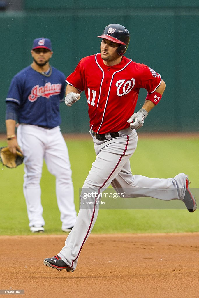 Ryan Zimmerman #11 of the Washington Nationals rounds the bases after hitting a solo home run during the first inning against the Cleveland Indians at Progressive Field on June 15, 2013 in Cleveland, Ohio.