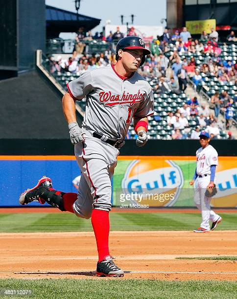 Ryan Zimmerman of the Washington Nationals runs the bases after his home run against the New York Mets at Citi Field on April 3 2014 in the Flushing...