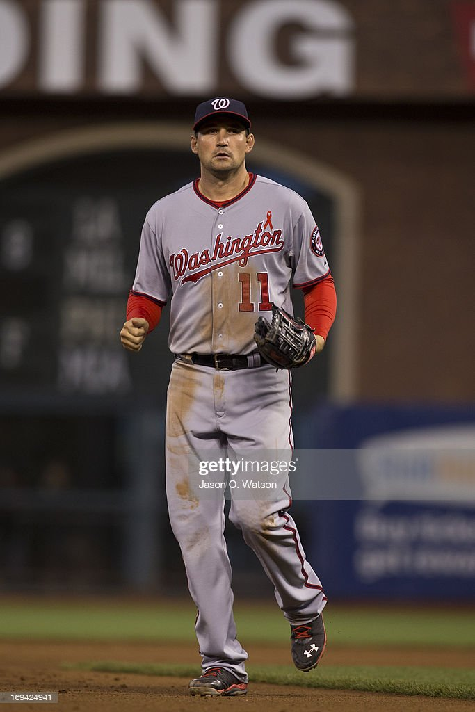 <a gi-track='captionPersonalityLinkClicked' href=/galleries/search?phrase=Ryan+Zimmerman+-+Baseball+Player&family=editorial&specificpeople=534809 ng-click='$event.stopPropagation()'>Ryan Zimmerman</a> #11 of the Washington Nationals stands on the field against the San Francisco Giants during the fourth inning at AT&T Park on May 21, 2013 in San Francisco, California. The San Francisco Giants defeated the Washington Nationals 4-2 in 10 innings.
