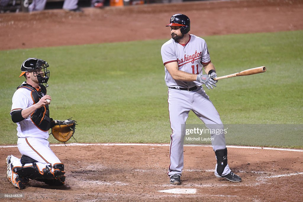 Ryan Zimmerman #11 of the Washington Nationals strikes out with runners on base in the eighth inning during a baseball game against the the Baltimore Orioles at Oriole Park at Camden Yards on August 22, 2016 in Baltimore, Maryland. The Oriole won 4-3.