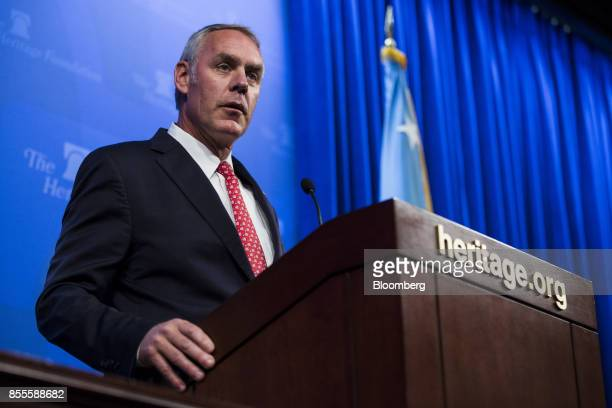 Ryan Zinke US secretary of interior speaks during an event at the Heritage Foundation in Washington DC US on Friday Sept 29 2017 Zinke said there are...