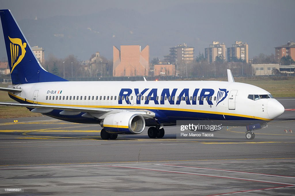 A Ryanair airplane at Orio Al Serio Airport on January 22, 2013 in Bergamo, Italy. Ryanair is introducing 4 new flights that will be operational from April. The new routes will be Catania (Italy), Kalamata (Greece), Knock (Ireland) and Malta.