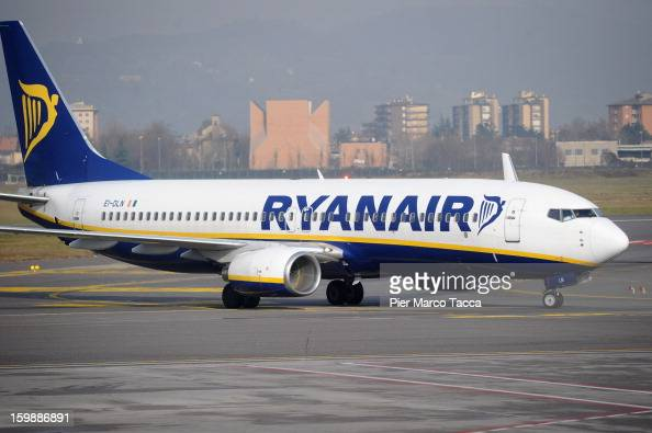 Ryanair airplane at Orio Al Serio Airport on January 22 2013 in Bergamo Italy Ryanair is introducing 4 new flights that will be operational from...
