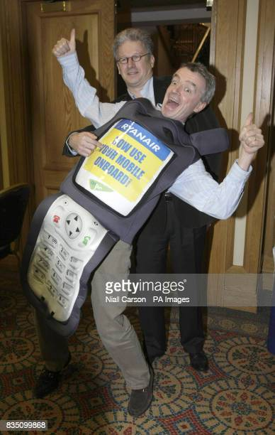 Ryanair CEO Michael O'Leary and Benoit Debains of OnAir launch the company mobile phone service in Dublin