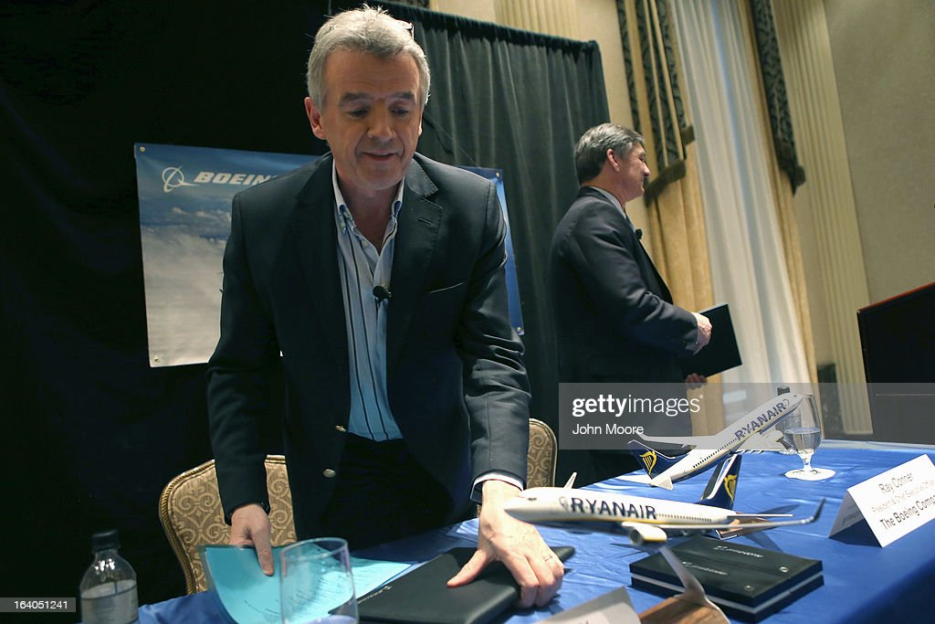 Ryanair CEO Michael O'Leary (L), and Boeing Commercial Airplanes President & CEO Ray Conner finish a press conference after signing a $15.6 billion purchase agreement on March 19, 2013 in New York City. Ryanair, Europe's largest low-cost air carrier, agreed to buy 175 new Next Generation 737-800 airplanes. According to Ryanair, the deal will create more than 3,000 new jobs for pilots, cabin crew and engineers across Europe.