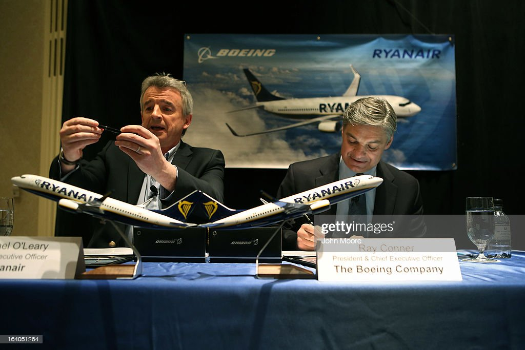 Ryanair CEO <a gi-track='captionPersonalityLinkClicked' href=/galleries/search?phrase=Michael+O%27Leary&family=editorial&specificpeople=5600252 ng-click='$event.stopPropagation()'>Michael O'Leary</a> (L), and Boeing Commercial Airplanes President & CEO Ray Conner sign a $15.6 billion purchase agreement on March 19, 2013 in New York City. Ryanair, Europe's largest low-cost air carrier, agreed to buy 175 new Next Generation 737-800 airplanes. According to Ryanair, the deal will create more than 3,000 new jobs for pilots, cabin crew and engineers across Europe.