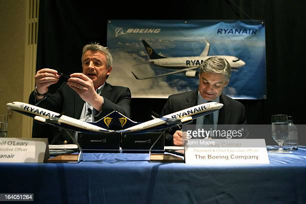 Ryanair CEO Michael O'Leary and Boeing Commercial Airplanes President CEO Ray Conner sign a $156 billion purchase agreement on March 19 2013 in New...