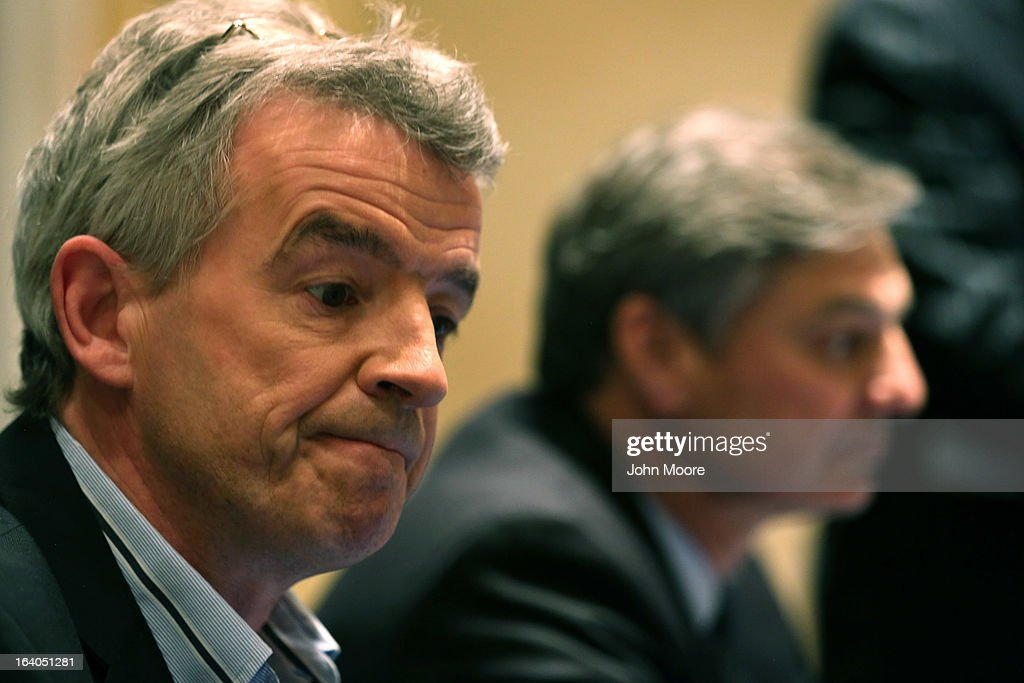 Ryanair CEO <a gi-track='captionPersonalityLinkClicked' href=/galleries/search?phrase=Michael+O%27Leary&family=editorial&specificpeople=5600252 ng-click='$event.stopPropagation()'>Michael O'Leary</a> (L), and Boeing Commercial Airplanes President & CEO Ray Conner hold a press conference after signing a $15.6 billion purchase agreement on March 19, 2013 in New York City. Ryanair, Europe's largest low-cost air carrier, agreed to buy 175 new Next Generation 737-800 airplanes. According to Ryanair, the deal will create more than 3,000 new jobs for pilots, cabin crew and engineers across Europe.