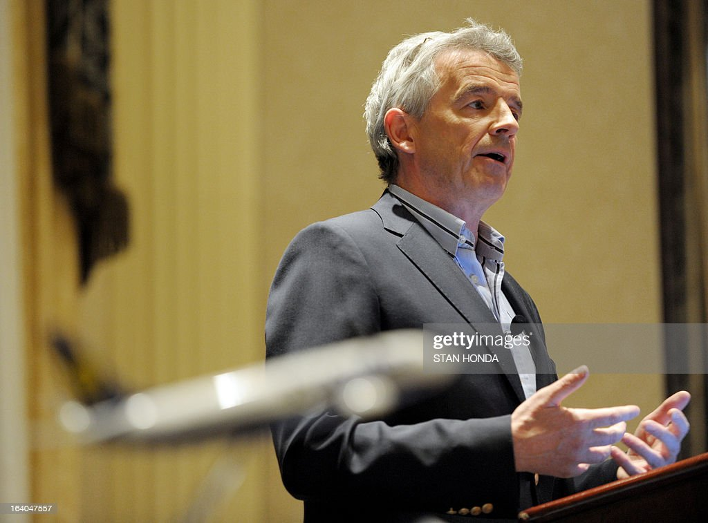 Ryanair CEO Michael O'Leary announces a commitment by Ryanair to order 175 Boeing Next-Generation 737-800s worth USD $15.6 billion at a press conference March 19, 2013 in New York. AFP PHOTO/Stan HONDA