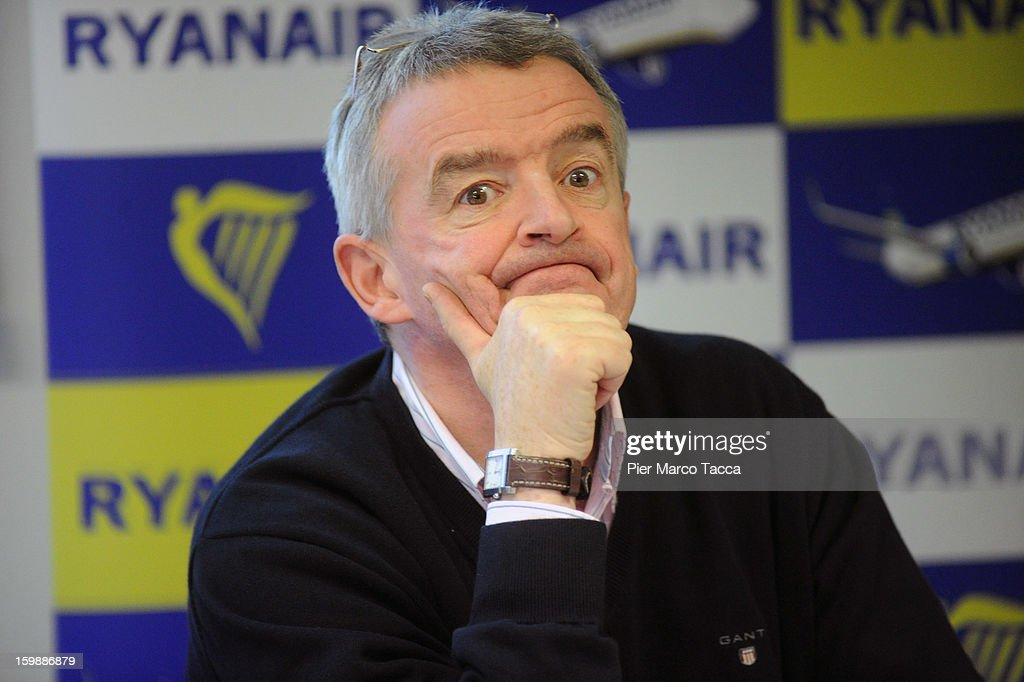 Ryanair CEO <a gi-track='captionPersonalityLinkClicked' href=/galleries/search?phrase=Michael+O%27Leary&family=editorial&specificpeople=5600252 ng-click='$event.stopPropagation()'>Michael O'Leary</a> during a press conference at Orio Al Serio Airport on January 22, 2013 in Bergamo, Italy. Ryanair is introducing 4 new flights that will be operational from April. The new routes will be Catania (Italy), Kalamata (Greece), Knock (Ireland) and Malta.