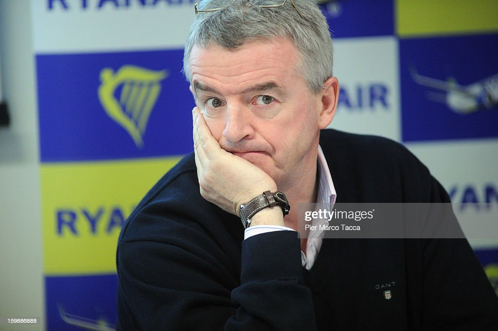 Ryanair CEO Michael O'Leary during a press conference at Orio Al Serio Airport on January 22, 2013 in Bergamo, Italy. Ryanair is introducing 4 new flights that will be operational from April. The new routes will be Catania (Italy), Kalamata (Greece), Knock (Ireland) and Malta.