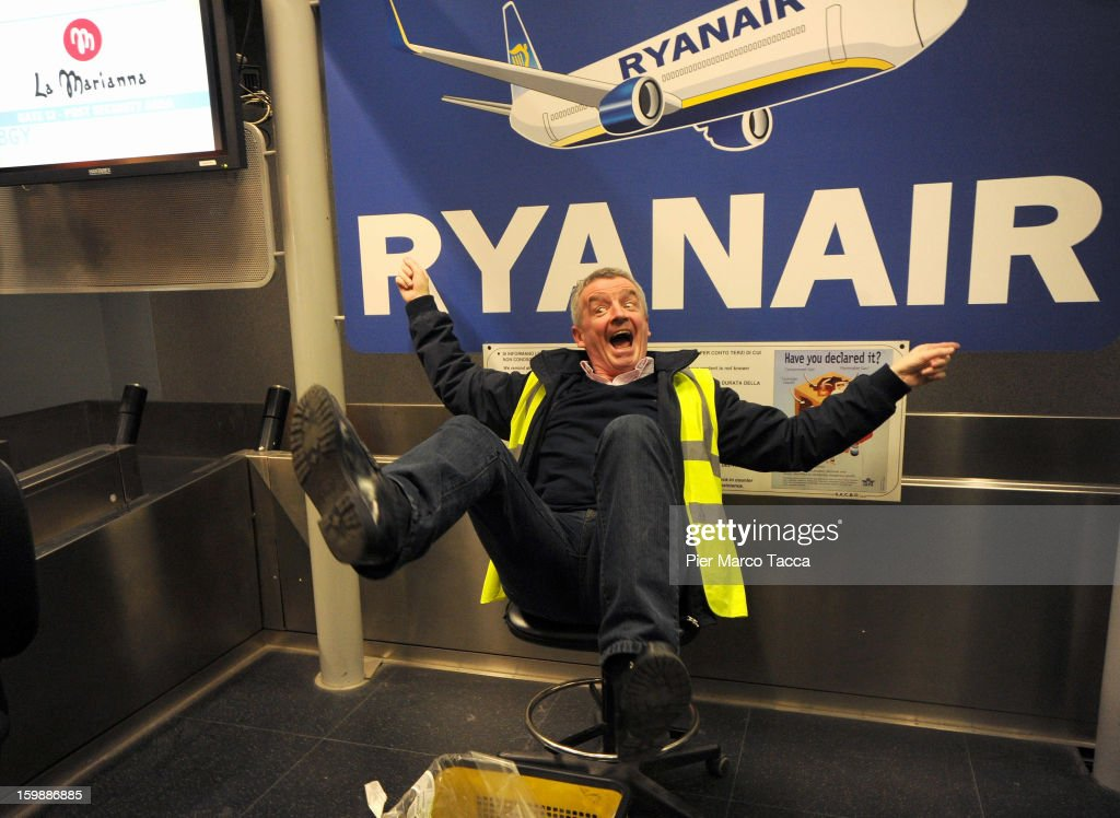 Ryanair CEO <a gi-track='captionPersonalityLinkClicked' href=/galleries/search?phrase=Michael+O%27Leary&family=editorial&specificpeople=5600252 ng-click='$event.stopPropagation()'>Michael O'Leary</a> poses after the press conference at Orio Al Serio Airport on January 22, 2013 in Bergamo, Italy. Ryanair is introducing 4 new flights that will be operational from April. The new routes will be Catania (Italy), Kalamata (Greece), Knock (Ireland) and Malta.