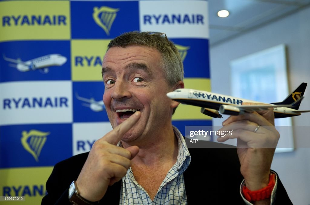 Ryanair CEO Michael O'Leary poses for photographers during a press conference at Maastricht-Aachen Airport on January 16, 2013. Dutch television station KRO, in their program Reporter, said Ryanair aircrafts do not refuel enough gasoline. Ryanair will thereby bring the flight crew and passengers in great danger, as a consequence. According to O'Leary, this is a lie and he will take legal action against the KRO. ANP JERRY LAMPEN netherlands out - belgium out