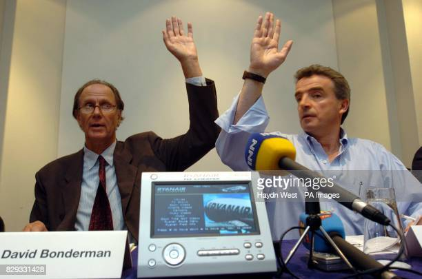 Ryanair CEO Michael O'Leary with the Chairman David Bonderman taking a vote with shareholders on one of the motions raised at the company's Annual...