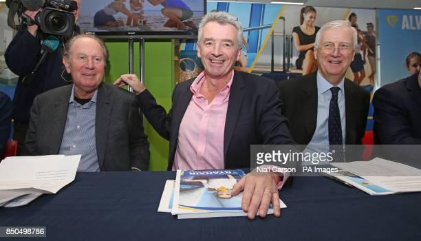 Ryanair Director David Bonderman CEO Michael O'Leary and Director Kyran McLaughlin during the company's AGM at the their Dublin headquarters where...